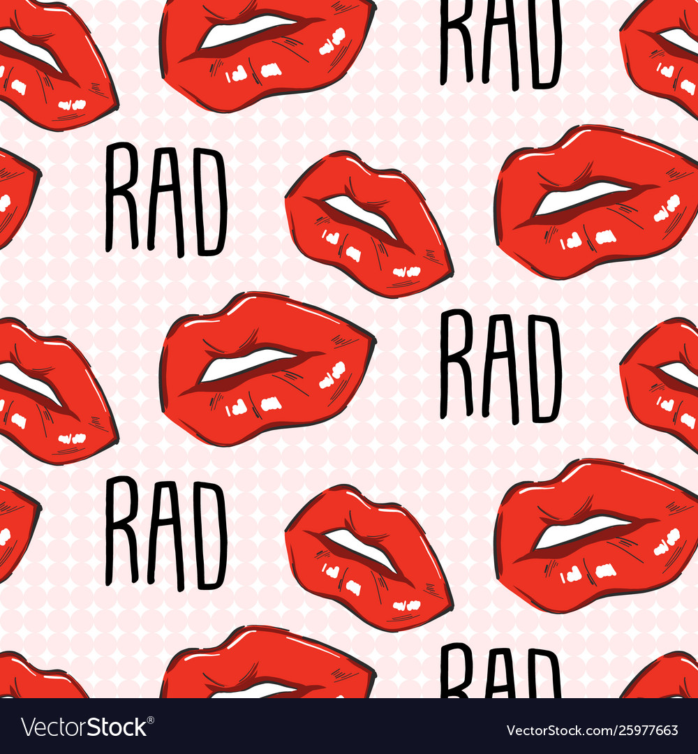 Red lips rad quote teen pop art lips with