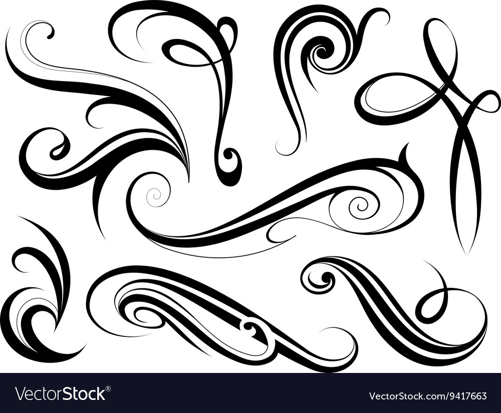 set of calligraphy swirls royalty free vector image rh vectorstock com swirls vector art free swirls vector vintage