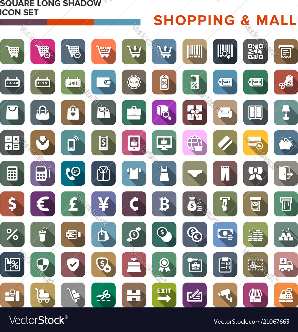 Shopping mall icons set with long shadow isolated