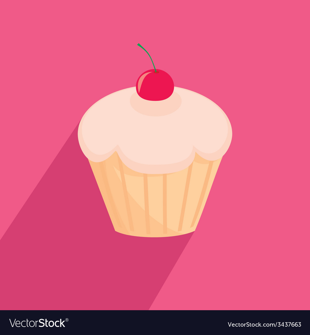 Sweet cherry cupcake flat
