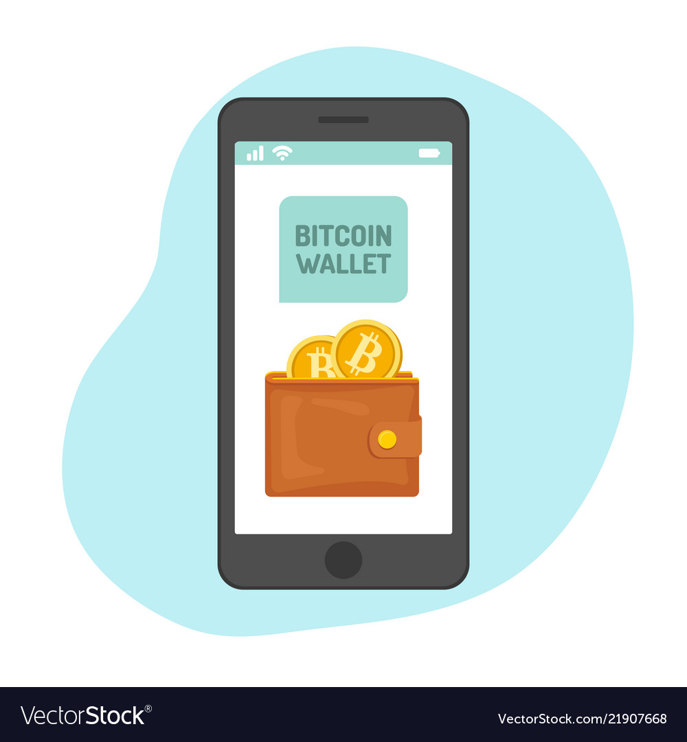 Bitcoin wallet with golden coins in smartphone