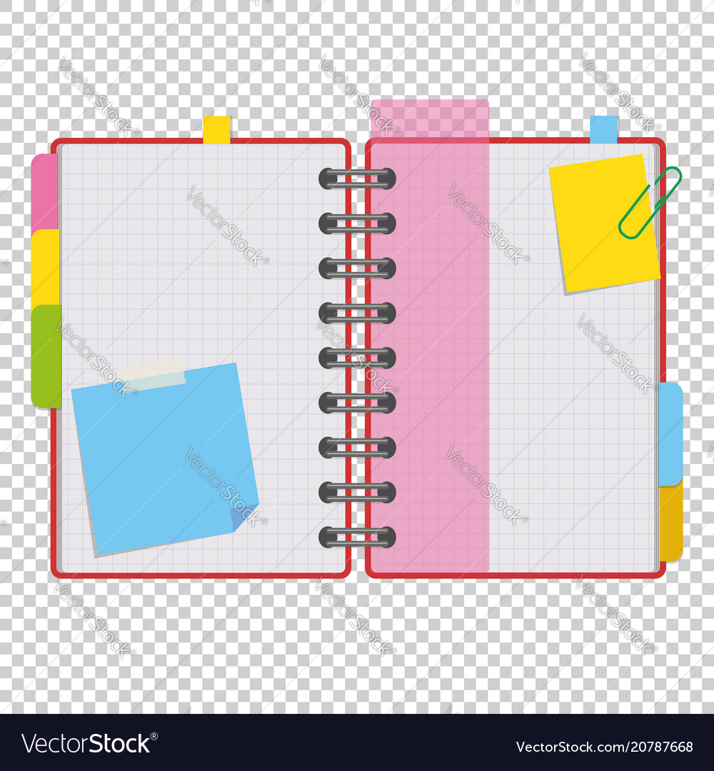 Color open notepad on rings with blank sheets and