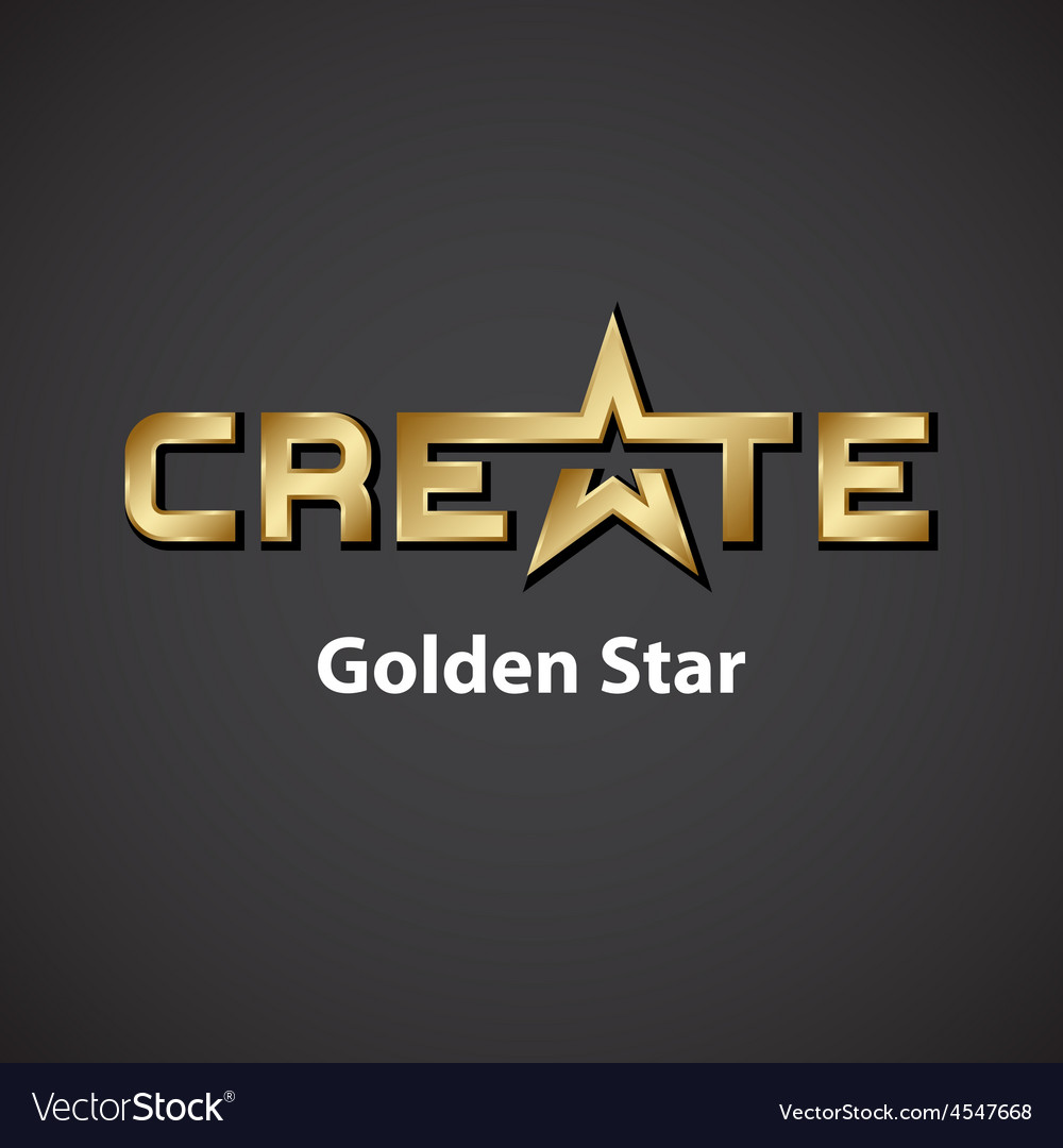 Create golden star inscription icon