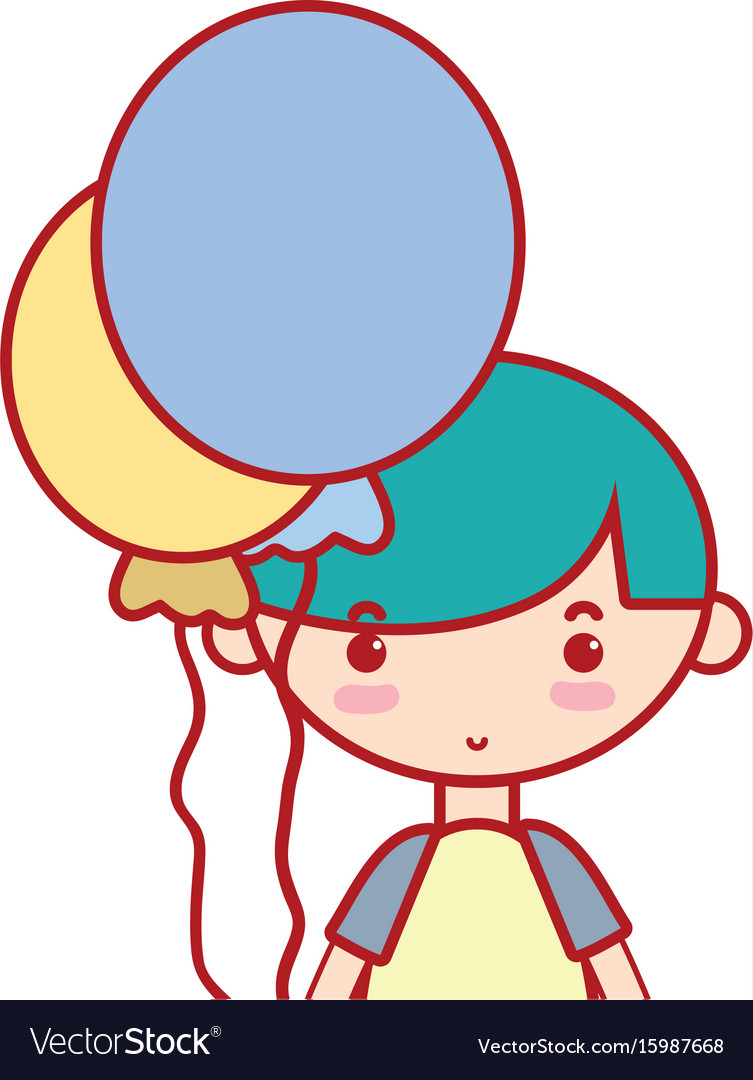 Cute boy with balloons and hairstyle design