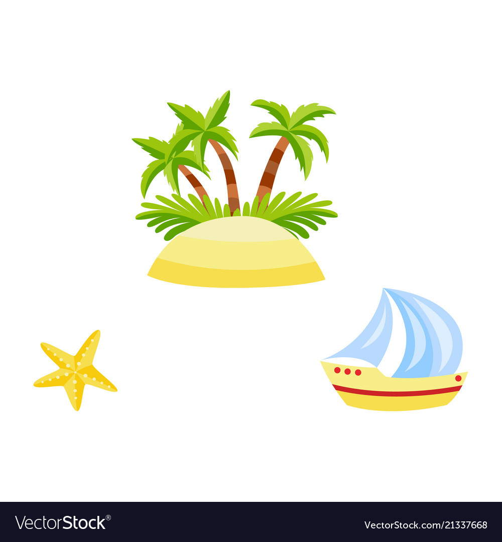 Flat travelling beach vacation symbols icon
