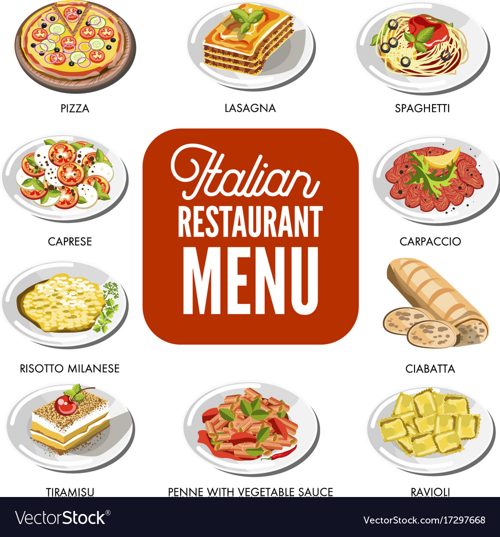 Italian food cusine dishes pizza pasta meat and