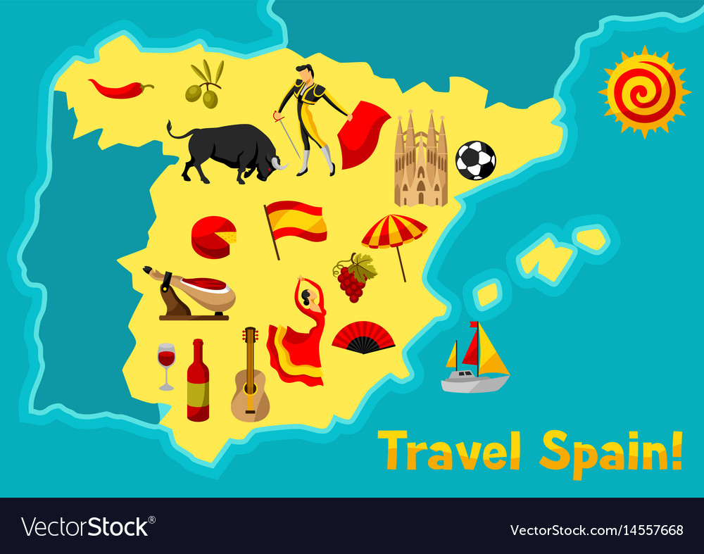 Spanish Map Of Spain.Map Of Spain Background Design Spanish