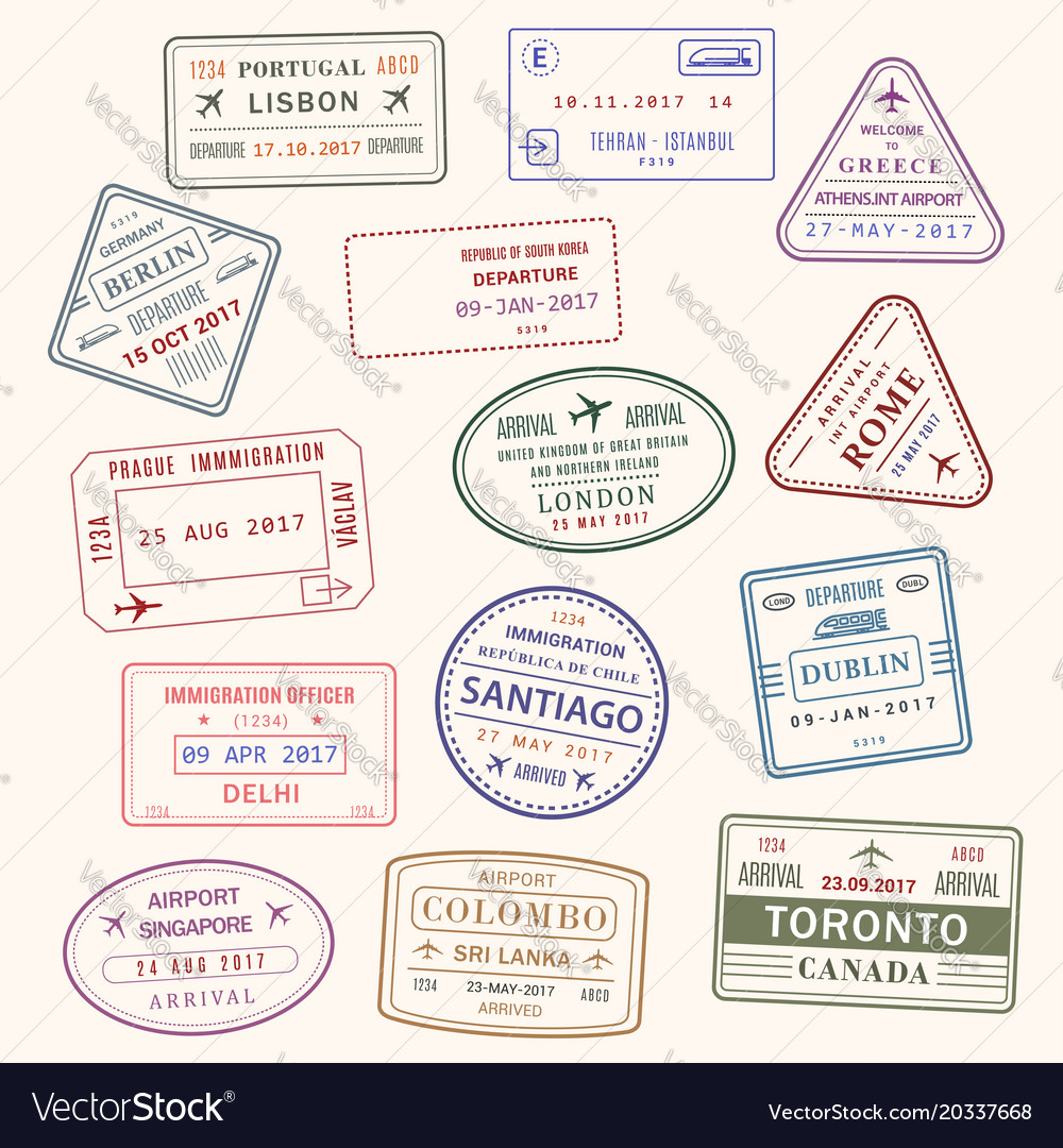 Passport stamp city and country icons set