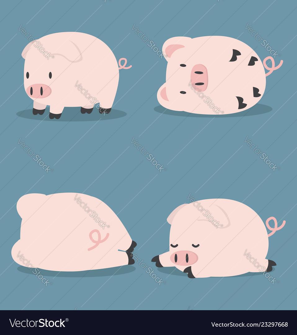 Set of cute little pig
