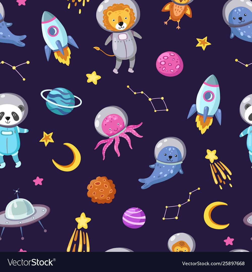 Space animals pattern cute baanimal astronauts