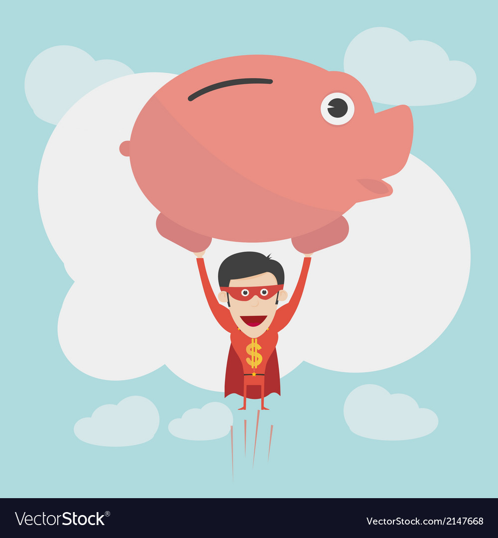 Super money man for business and finance concept