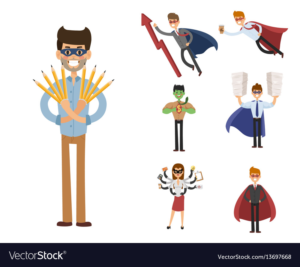 Superhero business man woman