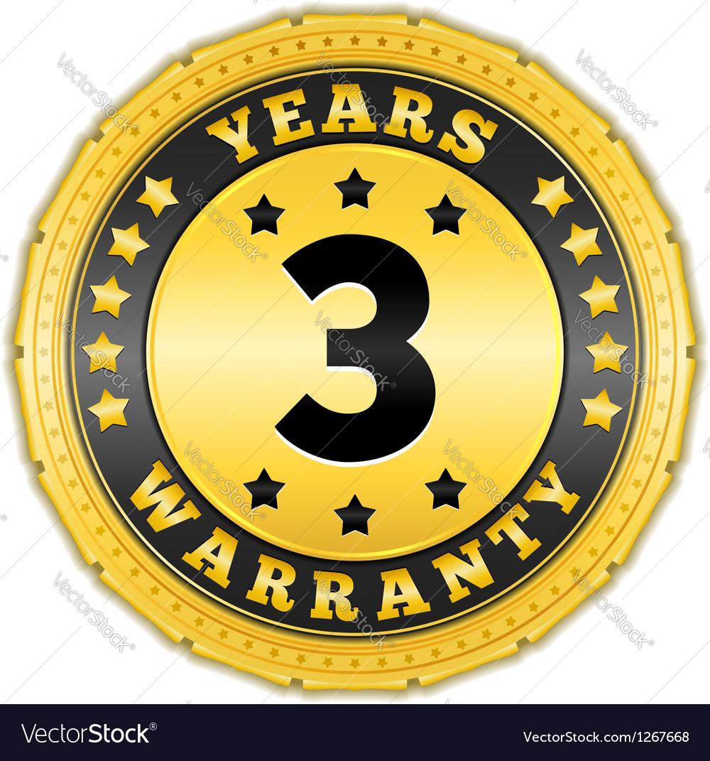 Three Years Warranty Badge vector image