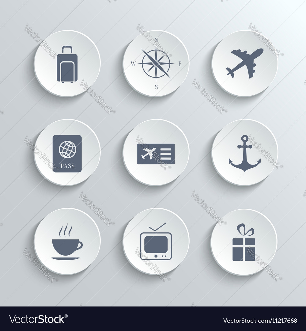 Travel icons set - white round buttons