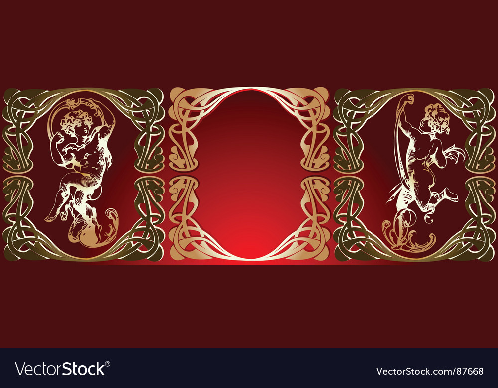 Trio red background golden cupids