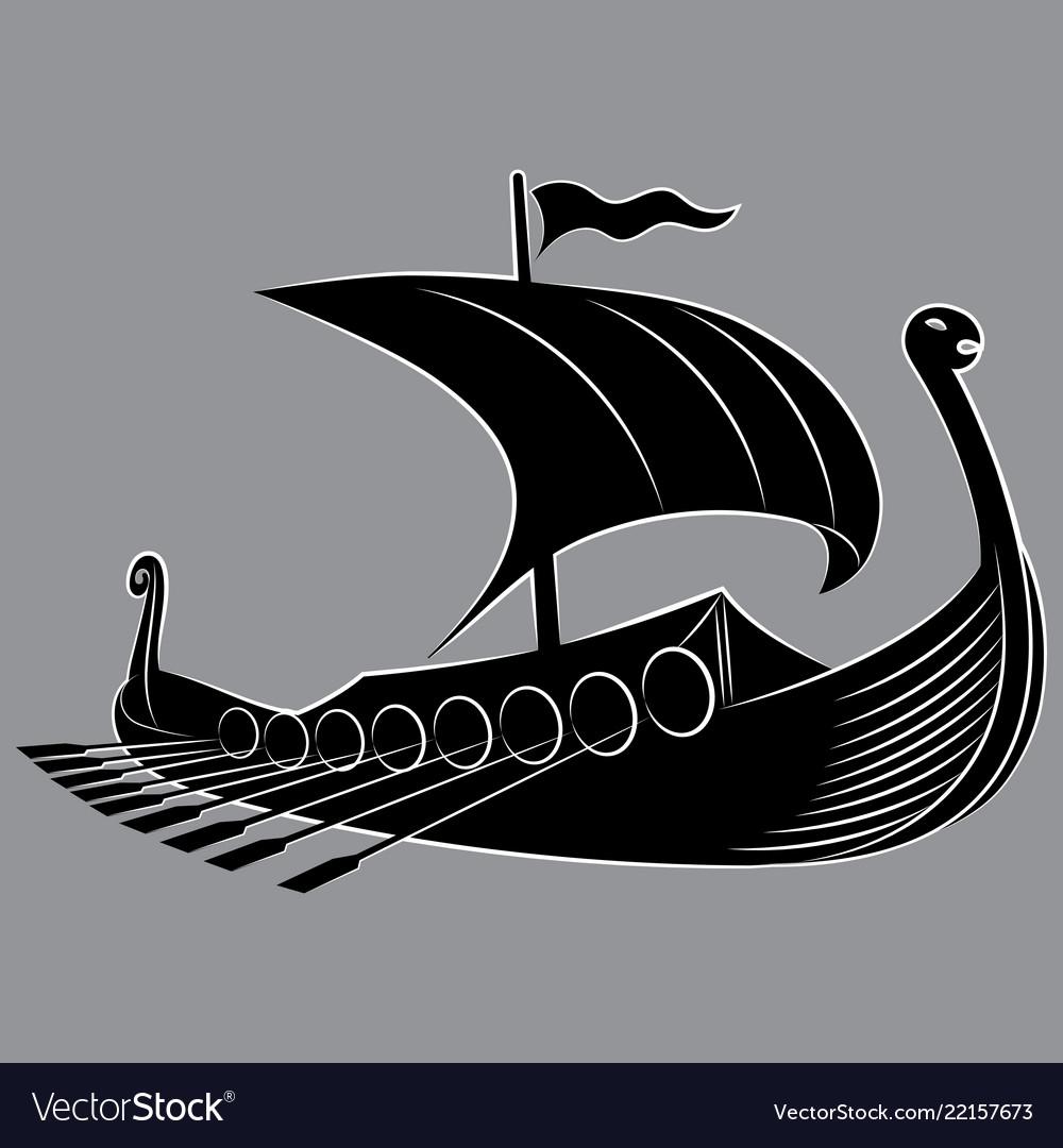 An ancient scandinavian image of a viking ship