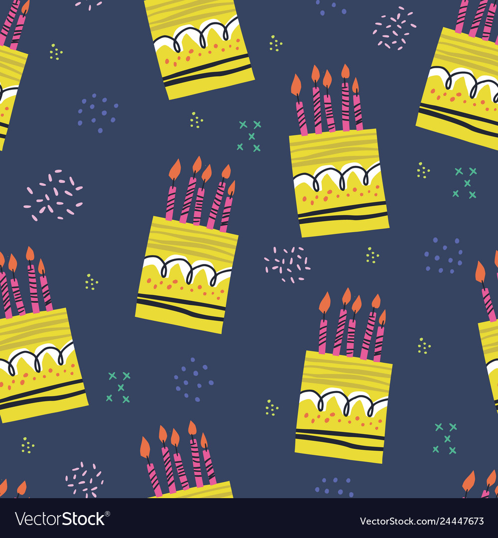 Birthday cakes hand drawn seamless pattern