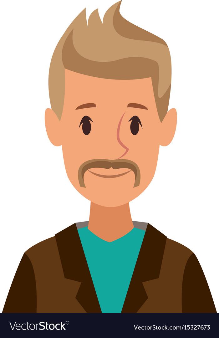 Cartoon Man Character Male Profile Image Vector Image