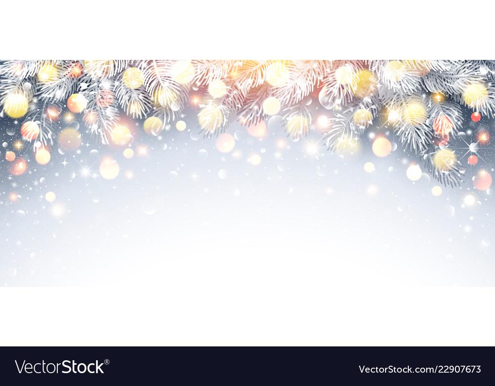 Christmas fir branch with warm light
