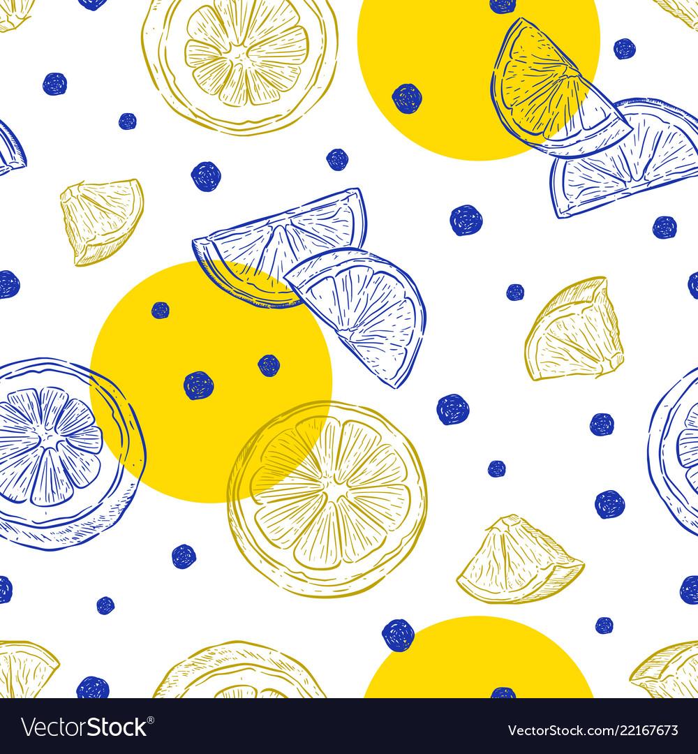 Fresh lemons background seamless pattern hand