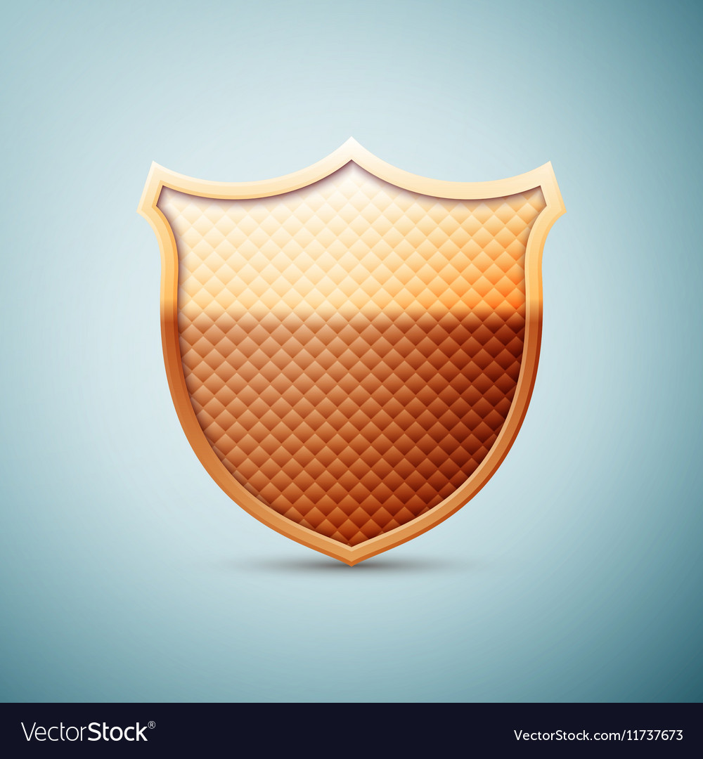 Gold shield emblem icon isolated on blue