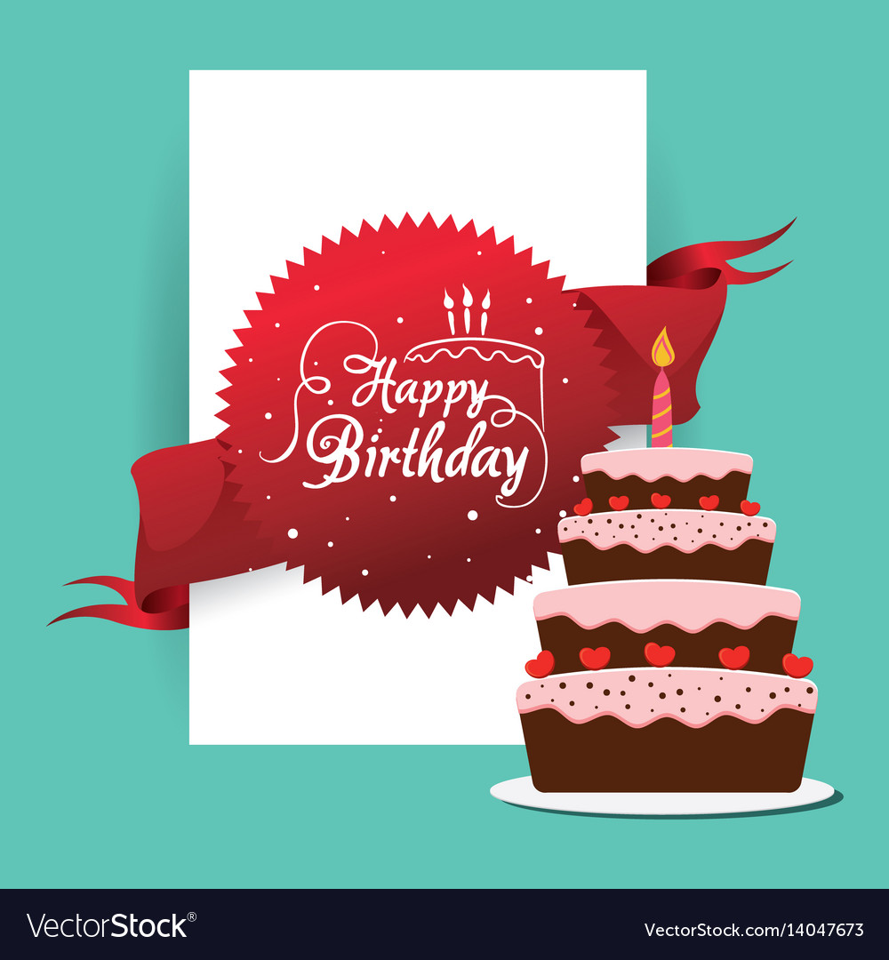 Happy Birthday Cake Card Greeting Event Royalty Free Vector