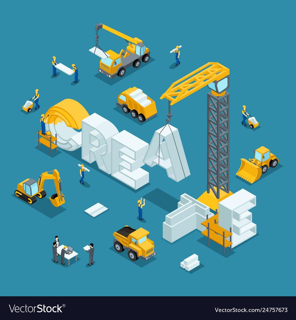 Isometric building business idea creative
