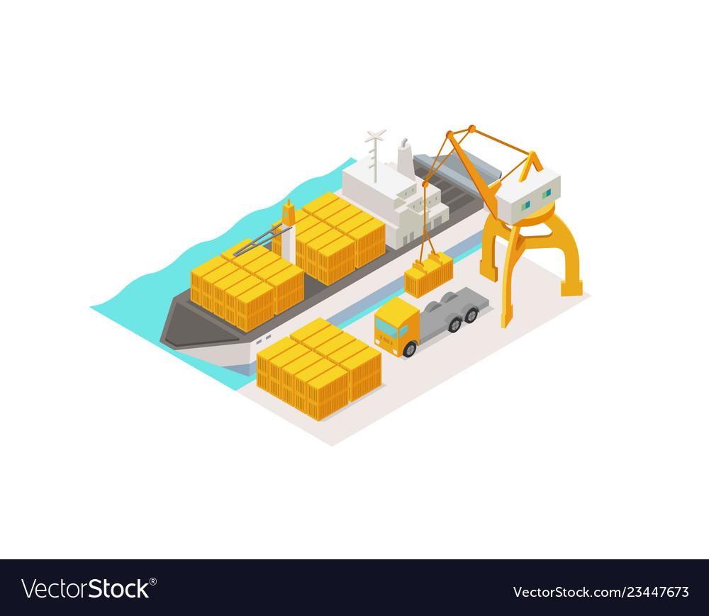 Isometric cargo harbor terminal barge container