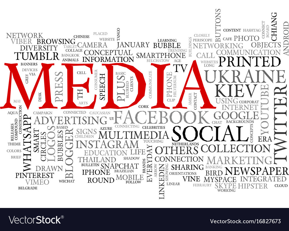 Media word cloud concept vector image