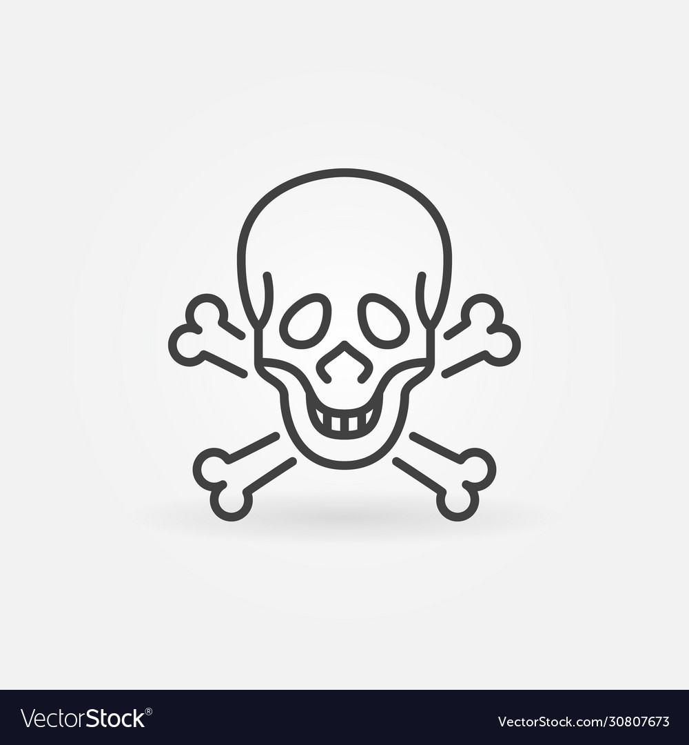 Skull and bones concept icon in outline