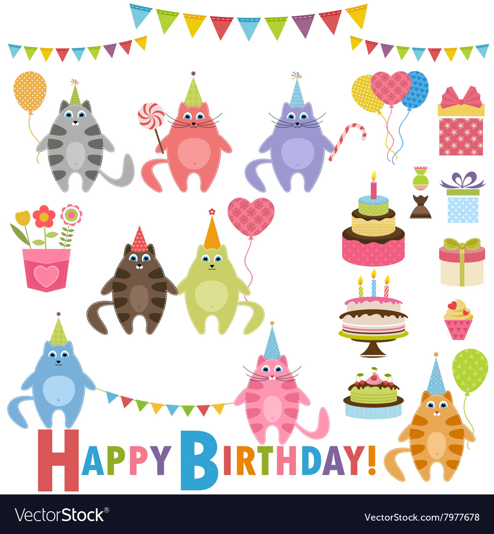 Birthday party set with cats