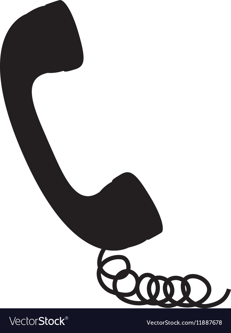 Black silhouette handset with cord