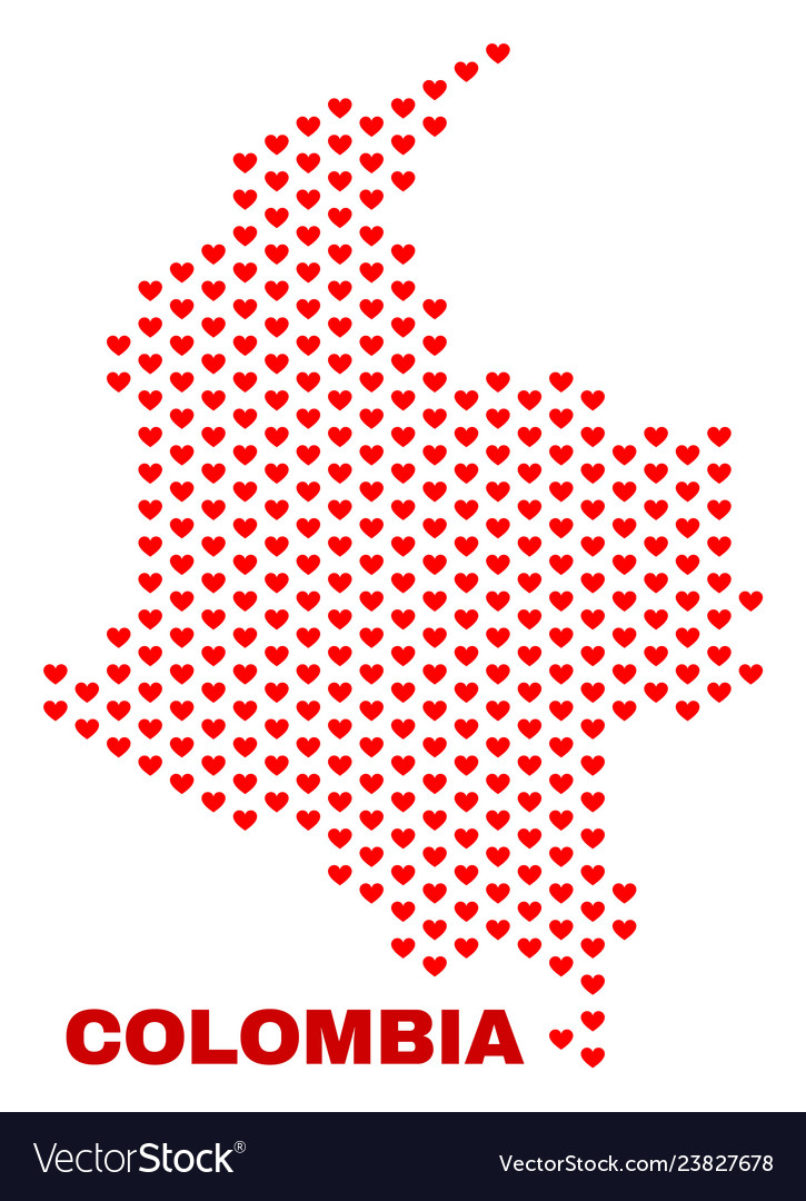 Colombia map - mosaic of valentine hearts