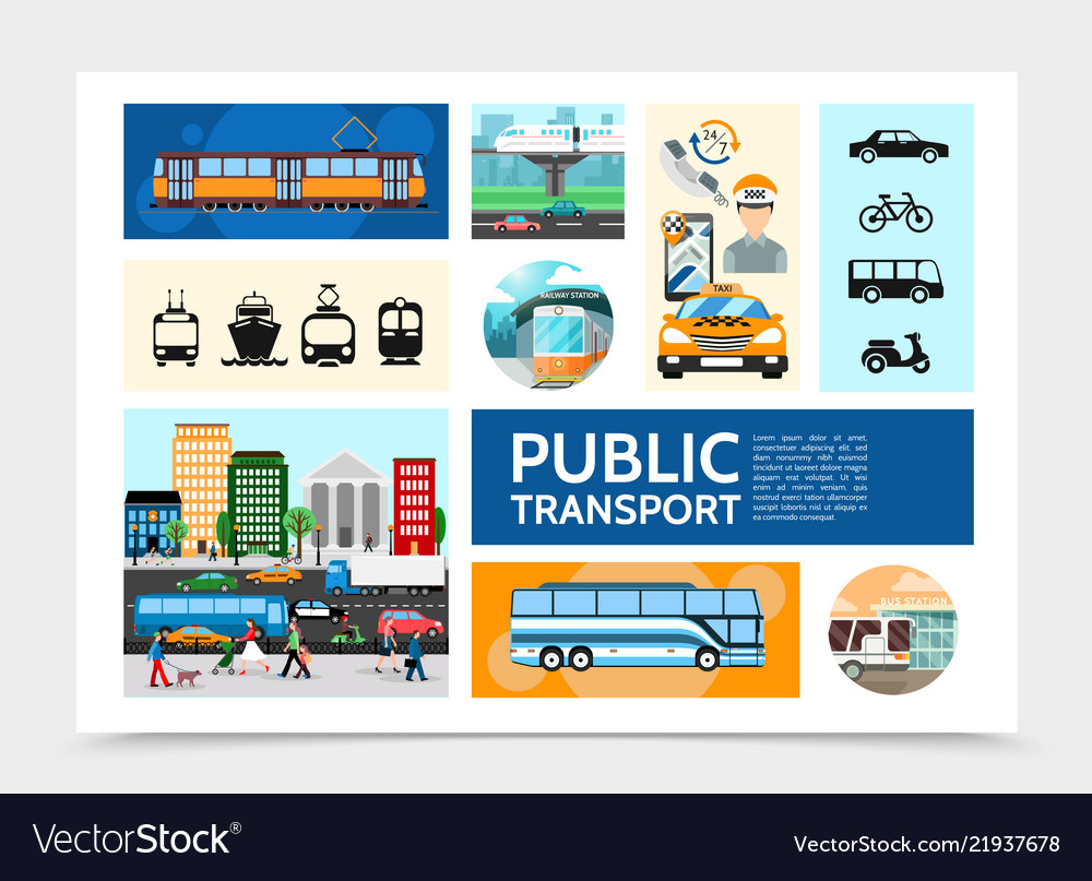 Flat public transport infographic template