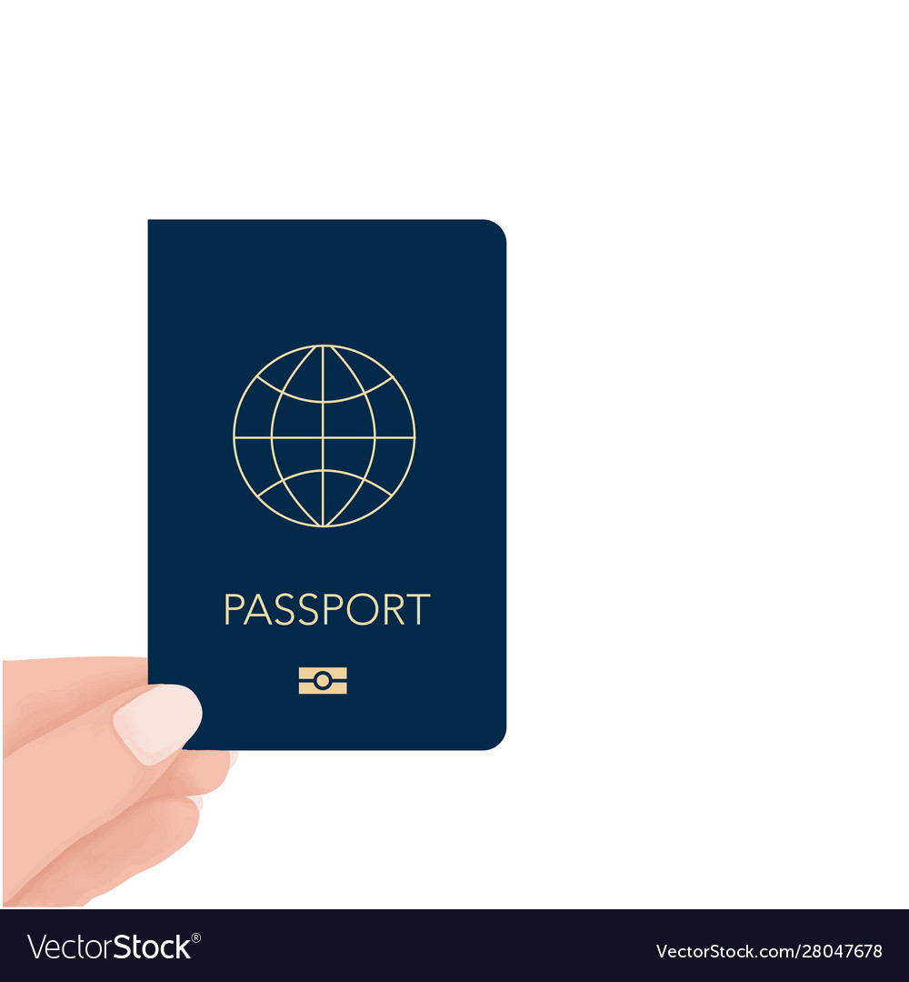 Hand holding passport in hand for check travel