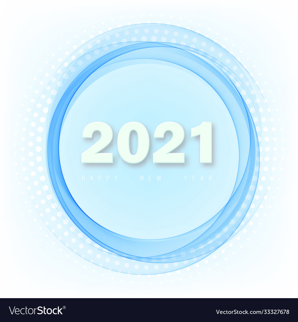 Happy new year 2021 in circle blue wave and blue