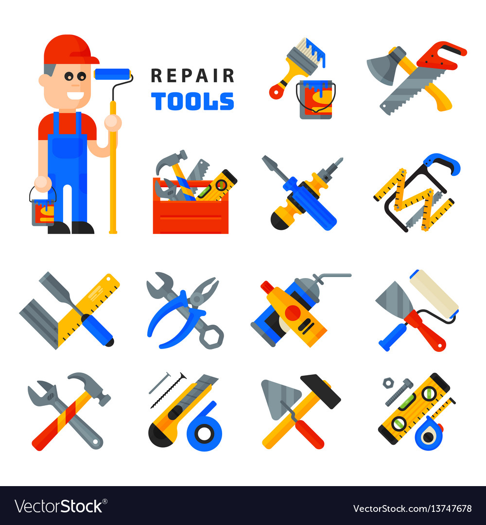 Home repair tools icons working construction