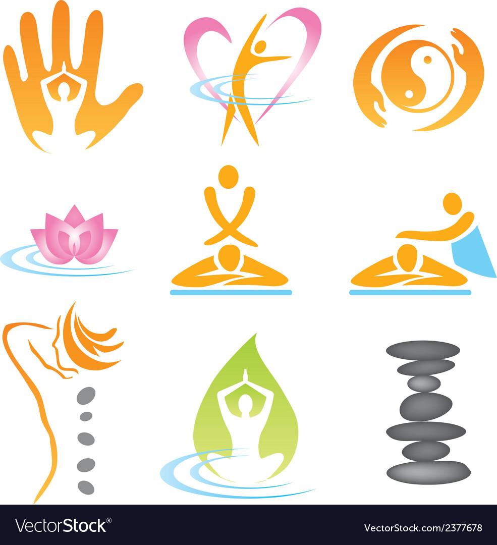 Icons spa massage vector image