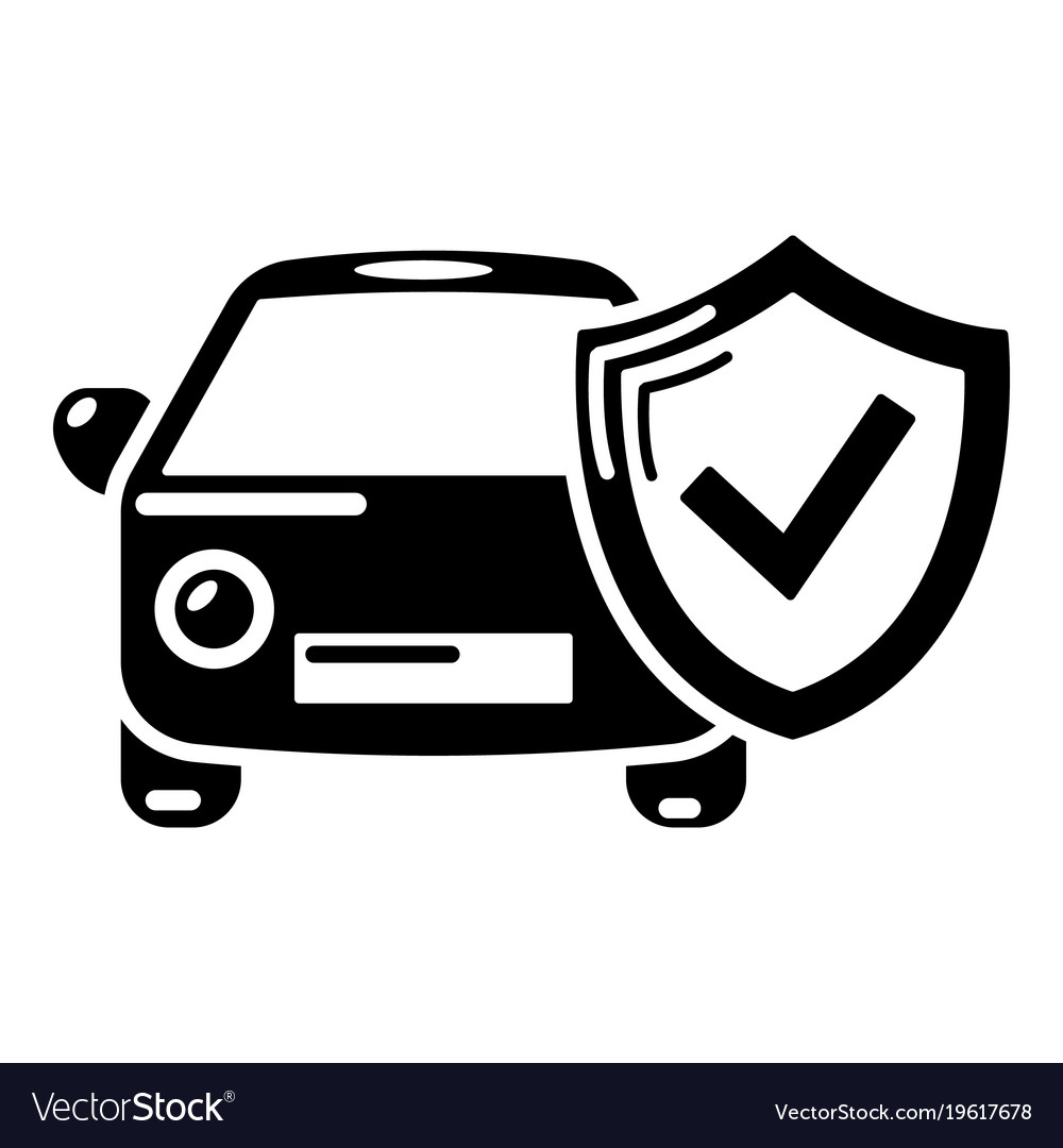 Insurance car icon simple black style Royalty Free Vector