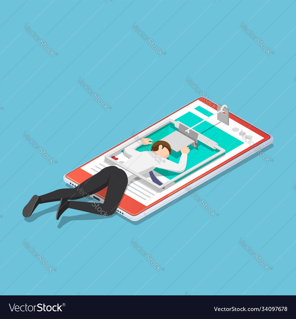 Isometric businessman trapped in a mousetrap on