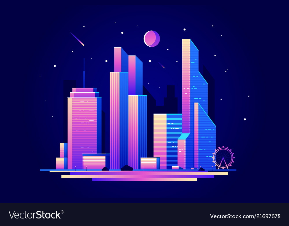 Landscape night city with skyscrapers buildings