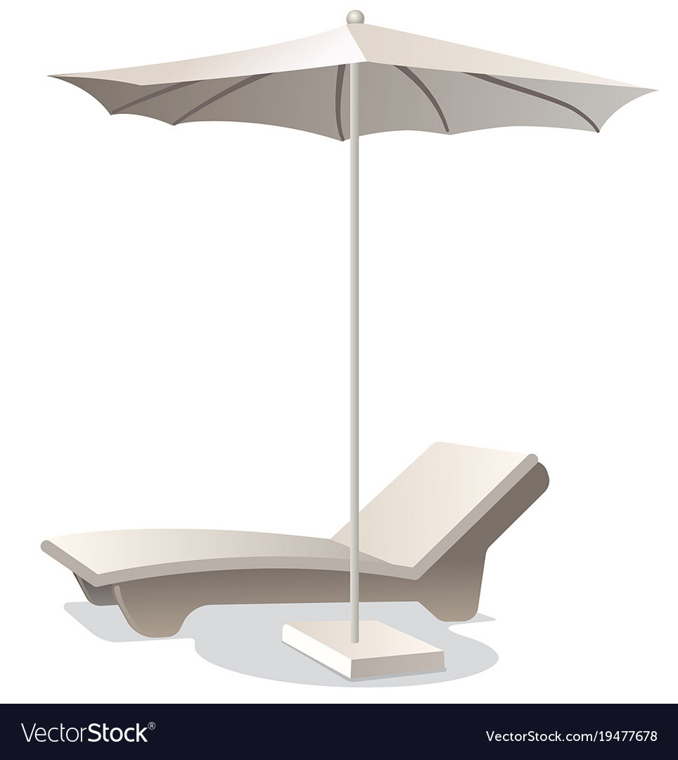 Lounge Chair With Umbrella Vector Image
