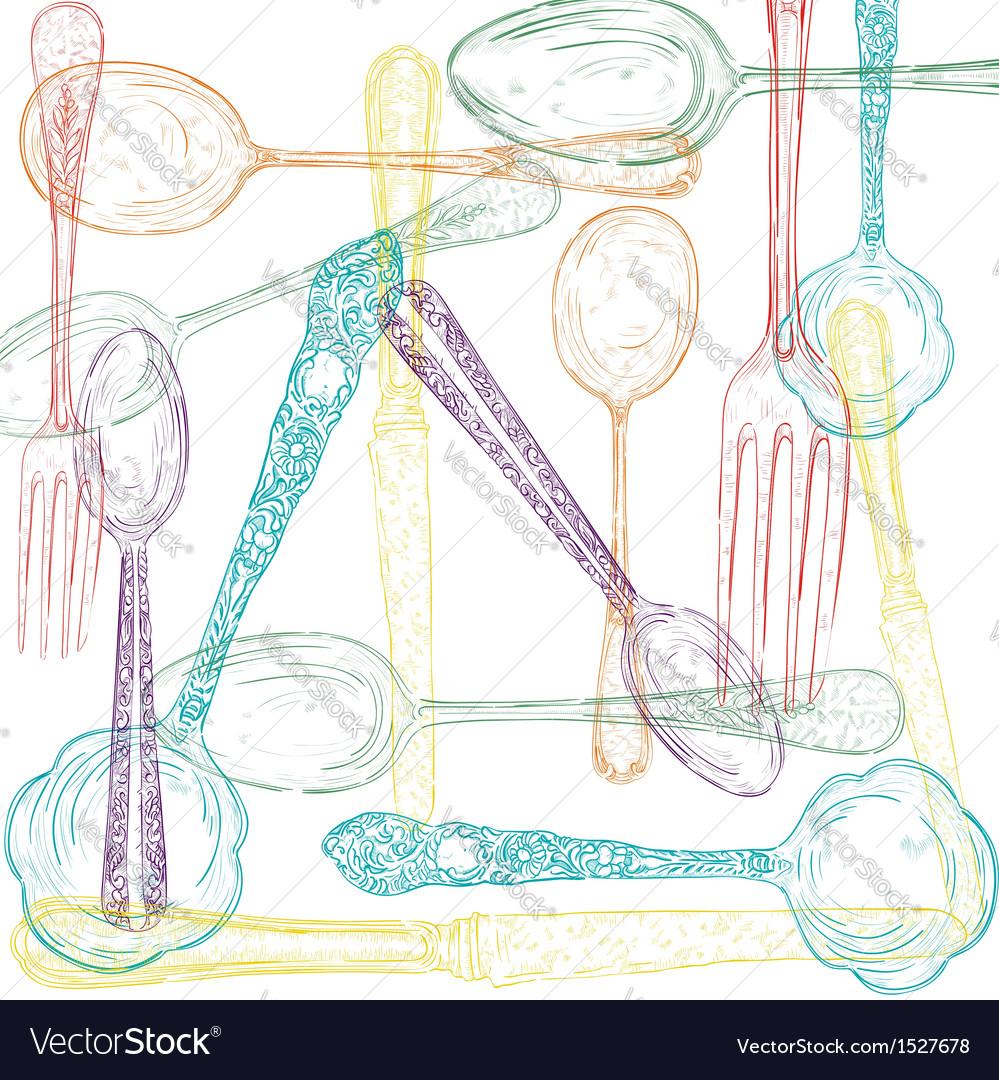 Retro cutlery sketch style set