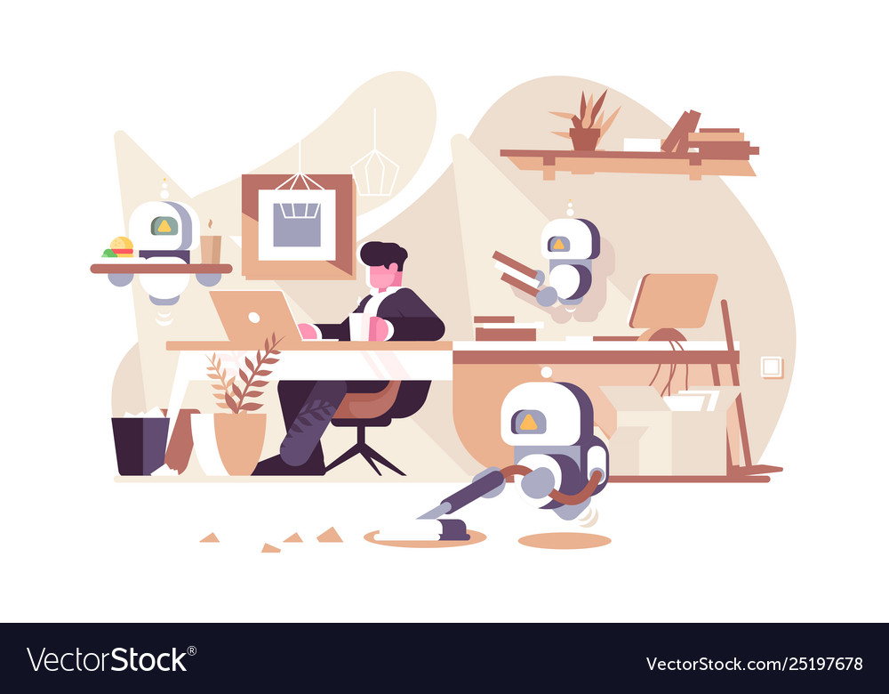 Robots working in office