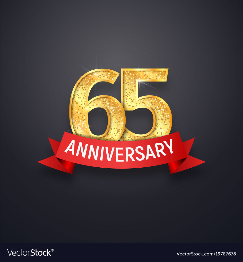 sixty five anniversary logo template 65th years vector image