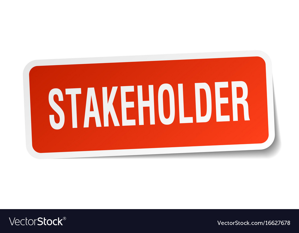 Stakeholder square sticker on white