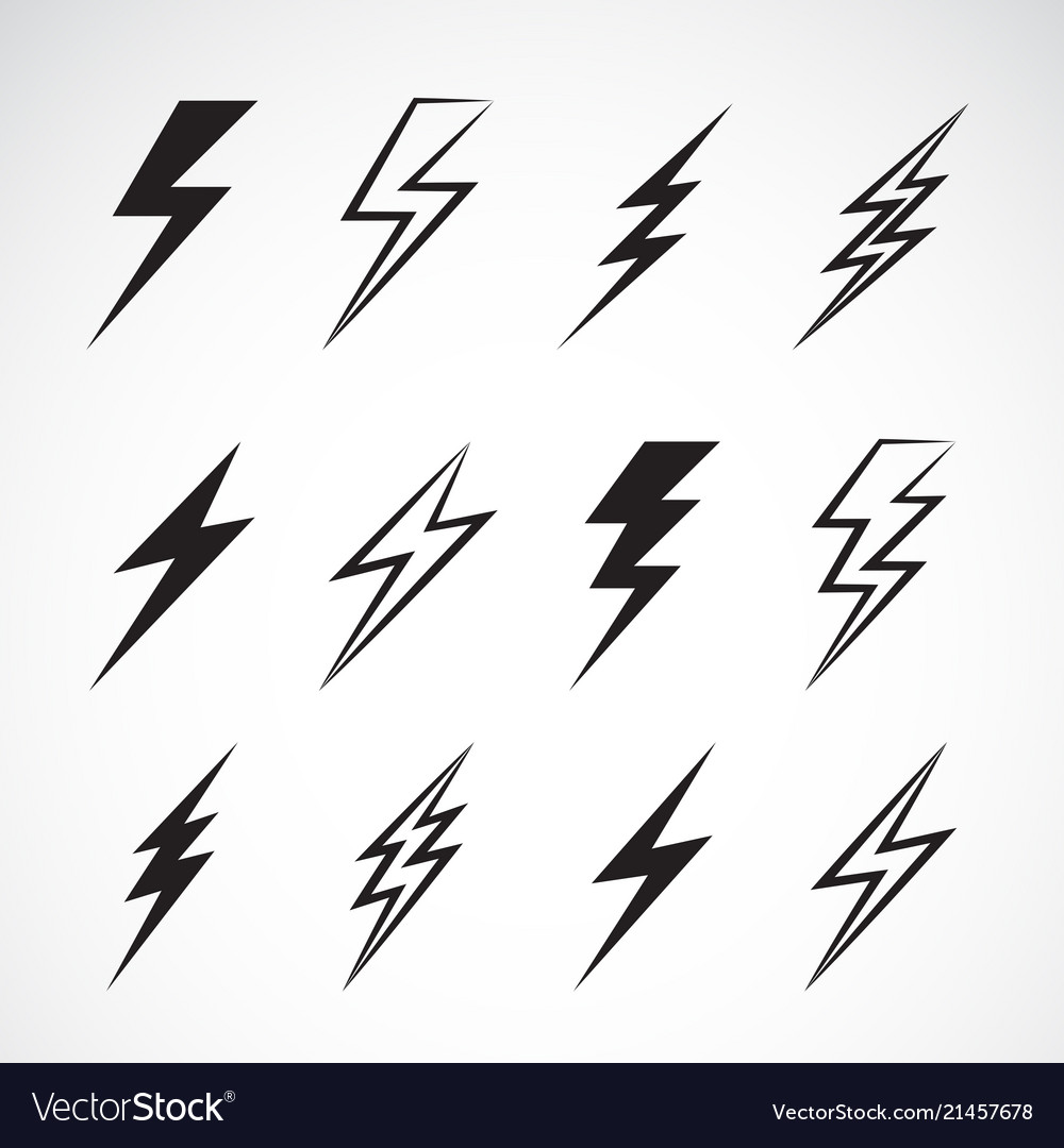 Thunder lightning flat icons set on white