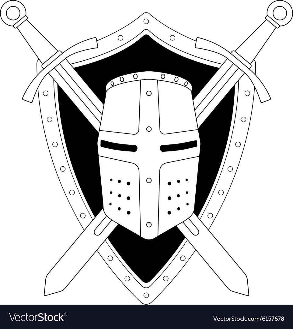 Two crossed swords shield and helmet emblem vector image