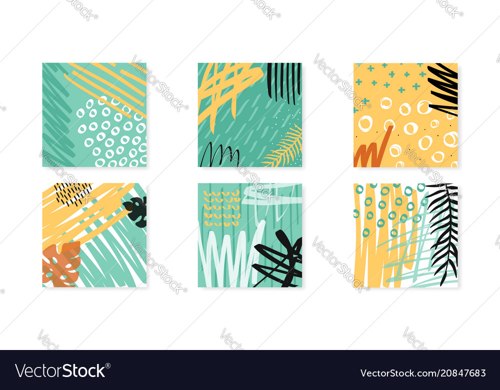 Abstract collage artboards set background