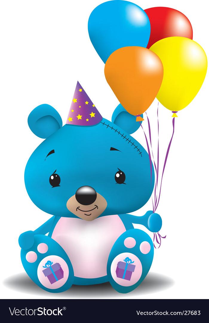 Birthday teddy bear vector image